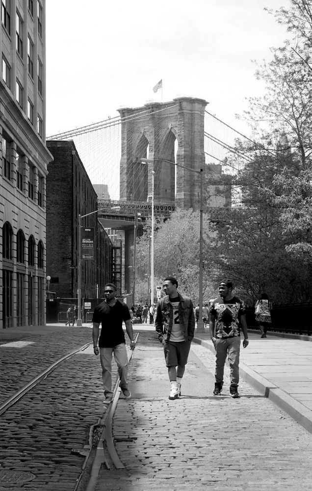 New York City.  Brooklyn Bridge and the Boys